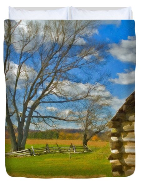 Duvet Cover featuring the photograph Log Cabin Valley Forge Pa by David Zanzinger