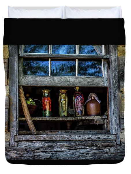 Duvet Cover featuring the photograph Log Cabin Window by Paul Freidlund