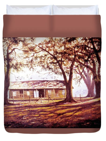 Log House On 421 Duvet Cover