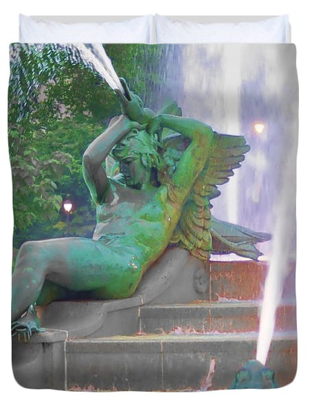 Logan Circle Fountain 4 Duvet Cover by Bill Cannon