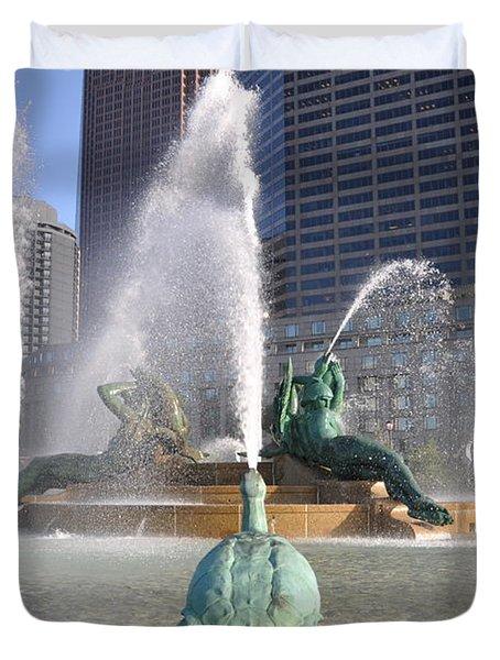 Logan Circle Fountain Duvet Cover by Bill Cannon