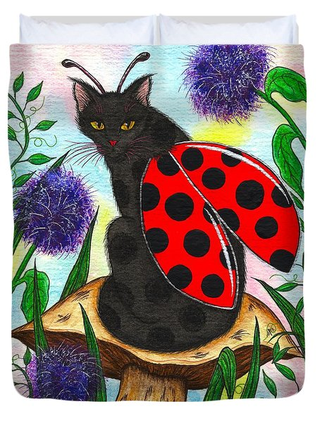 Duvet Cover featuring the painting Logan Ladybug Fairy Cat by Carrie Hawks