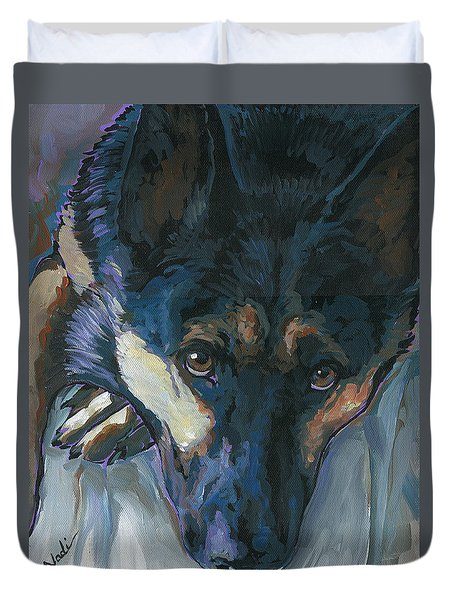 Duvet Cover featuring the painting Logan by Nadi Spencer