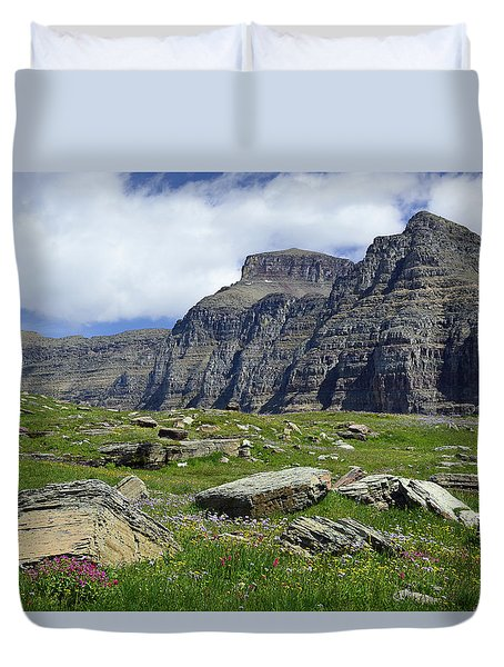Logan Pass Meadow And Mountains In Glacier National Park Duvet Cover