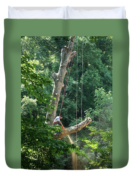 Logger Cutting Down Large, Tall Tree Duvet Cover