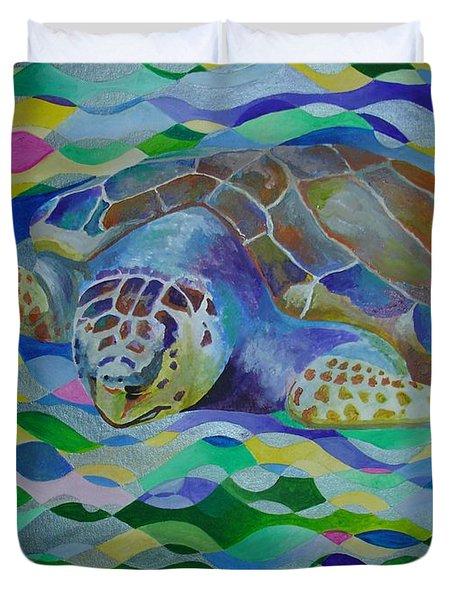 Loggerhead Turtle Duvet Cover by Tracey Harrington-Simpson