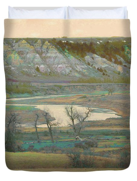 Logging Camp River Reverie Duvet Cover