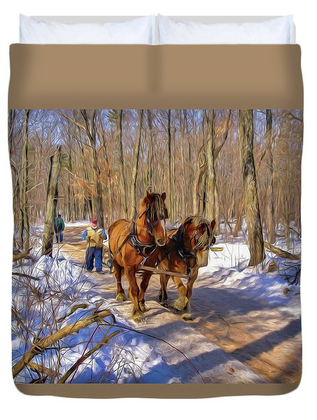 Logging Horses 1 Duvet Cover by Trey Foerster
