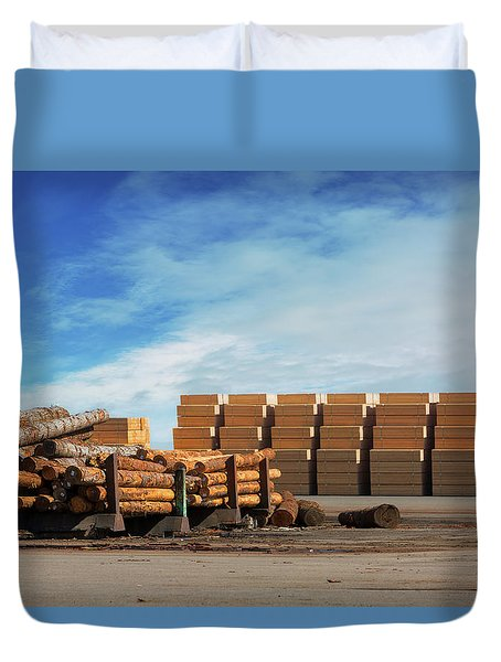 Logs And Plywood At Lumber Mill Duvet Cover