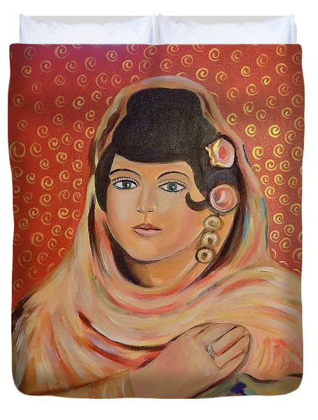 Duvet Cover featuring the painting Lola by John Keaton