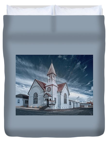Duvet Cover featuring the photograph Loleta Church by Greg Nyquist