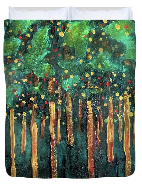 Duvet Cover featuring the painting Lollipop Trees by Valerie Anne Kelly