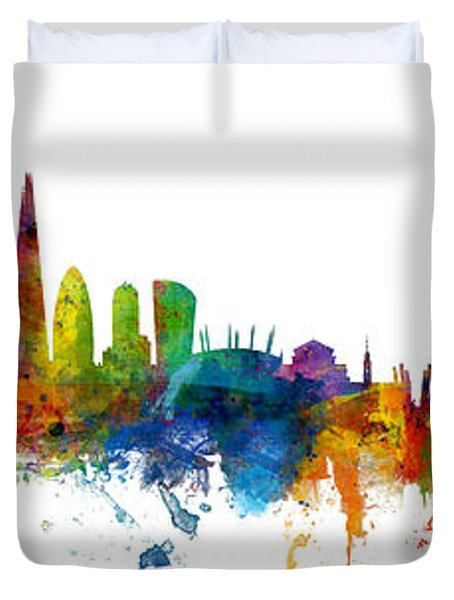 London And Warsaw Skylines Mashup Duvet Cover