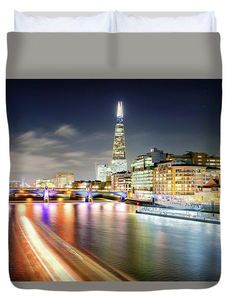 London At Night With Urban Architecture, Amazing Skyscraper And Boat At Thames River, United Kingdom Duvet Cover