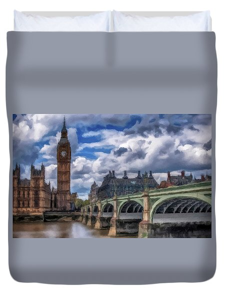 Duvet Cover featuring the painting London Big Ben by David Dehner