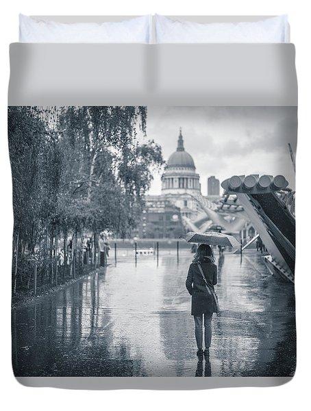 London Black And White Duvet Cover