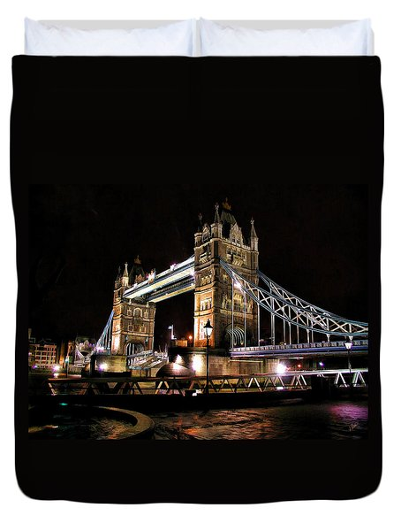 London Bridge At Night Duvet Cover by Dean Wittle