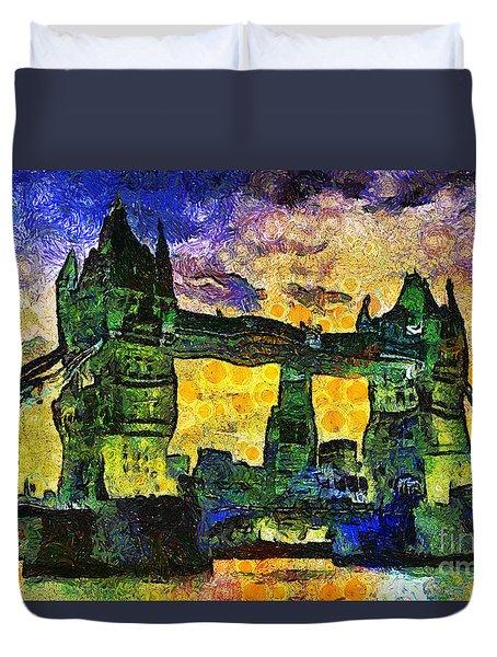 Duvet Cover featuring the digital art London Bridge by Ian Mitchell