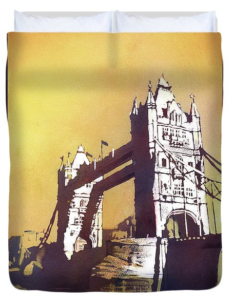 Duvet Cover featuring the painting London Bridge- Uk by Ryan Fox