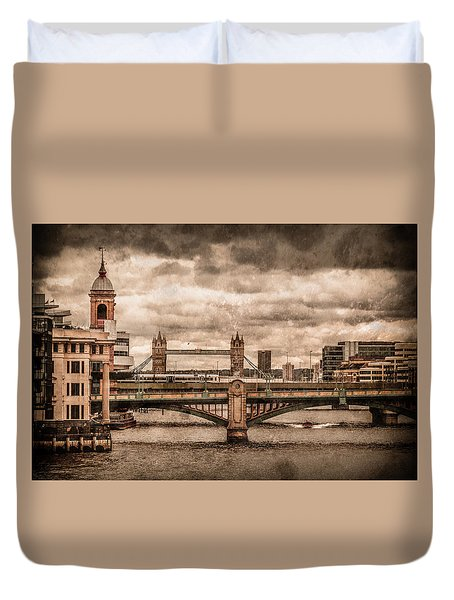 London, England - London Bridges Duvet Cover