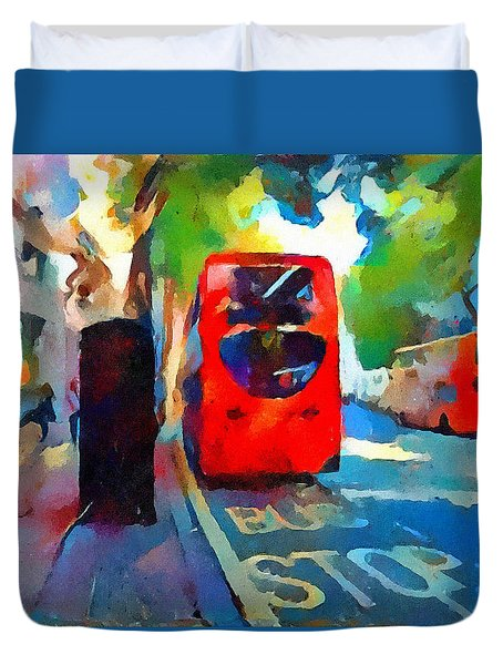London Bus Stop Duvet Cover