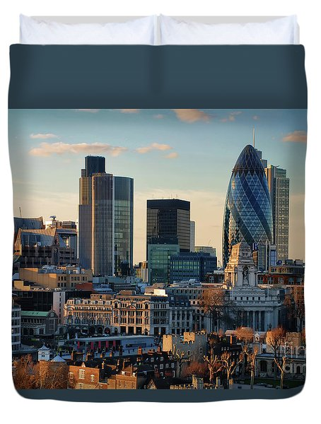 Duvet Cover featuring the photograph London City Of Contrasts by Lois Bryan