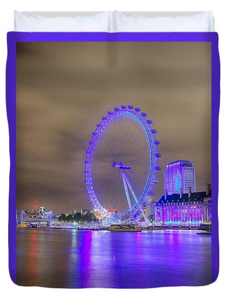 London Cityscape At Night 5x7 Duvet Cover