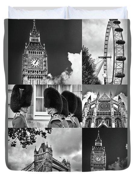 London Collage Bw Duvet Cover