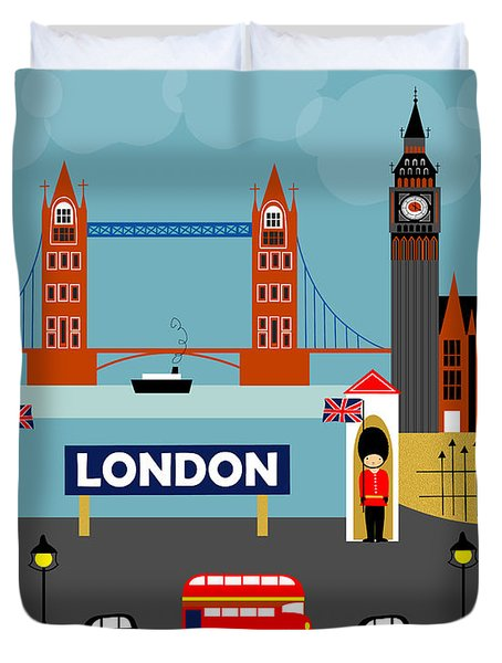 London England Horizontal Scene - Collage Duvet Cover by Karen Young