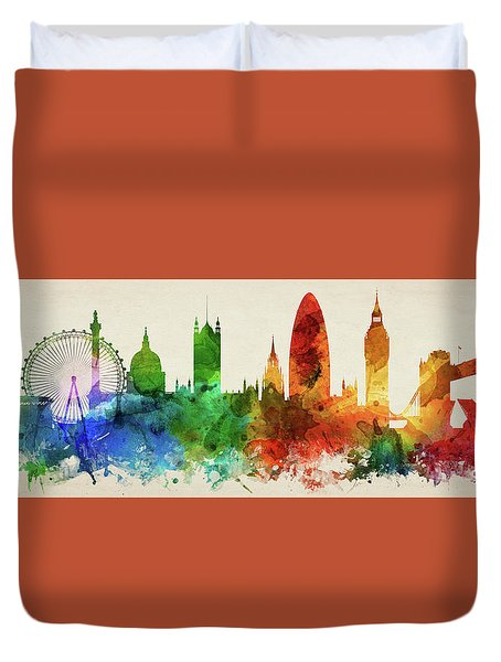 London England Skyline Panorama Gblo-pa02 Duvet Cover by Aged Pixel