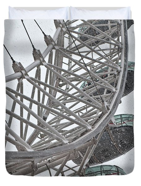 London Eye And Snow Duvet Cover