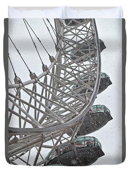 London Eye And Snow Duvet Cover