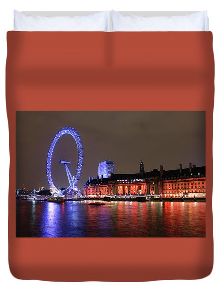 London Eye By Night Duvet Cover by RKAB Works