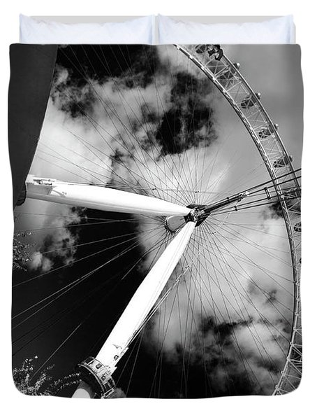 London Ferris Wheel Bw Duvet Cover