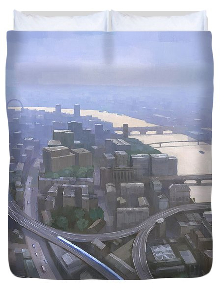 London, Looking West From The Shard Duvet Cover by Steve Mitchell