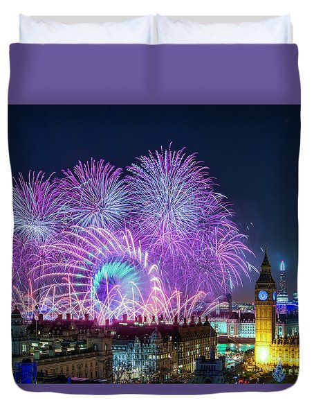 London New Year Fireworks Display Duvet Cover