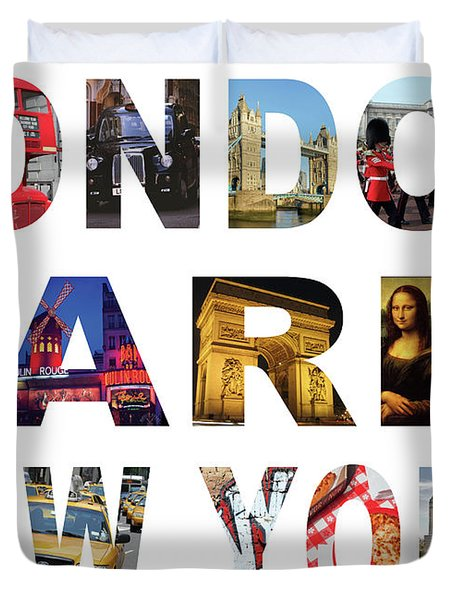 Duvet Cover featuring the digital art London Paris New York, White Background by Adam Spencer