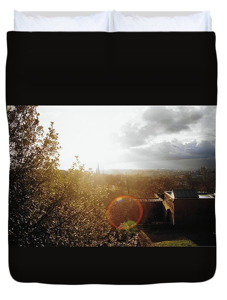 London Partialy Cloudy With A Chance Of Flare Duvet Cover by Patrick Murphy