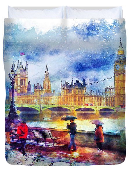 London Rain Watercolor Duvet Cover