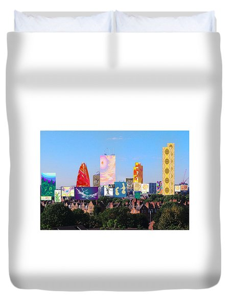 London Skyline Collage 1 Duvet Cover