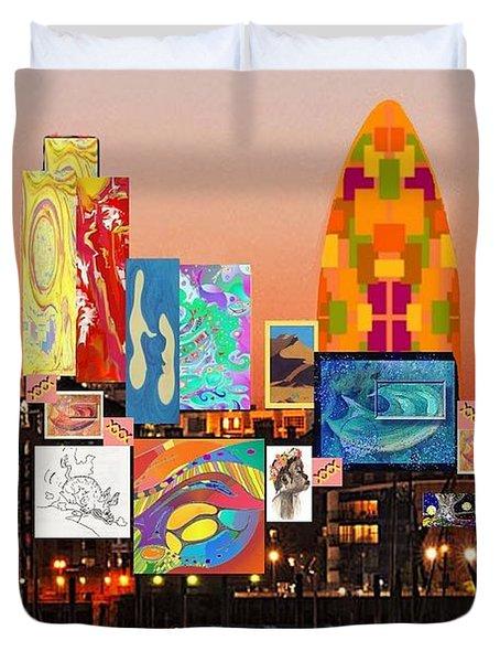 London Skyline Collage 2 Duvet Cover