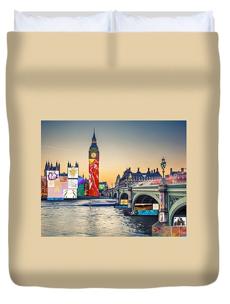 London Skyline Collage 3 Inc Big Ben, Westminster  Duvet Cover