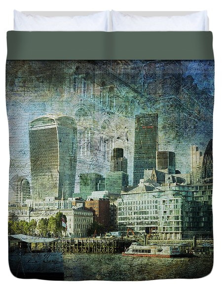 London Skyline Key Of Blue Duvet Cover