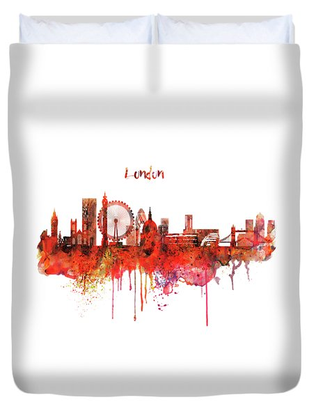 London Skyline Watercolor Duvet Cover by Marian Voicu