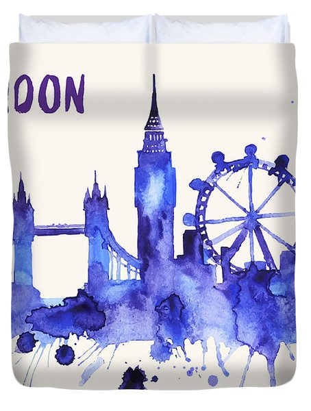 London Skyline Watercolor Poster - Cityscape Painting Artwork Duvet Cover