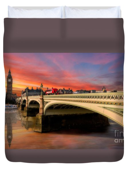London Sunset Duvet Cover by Adrian Evans