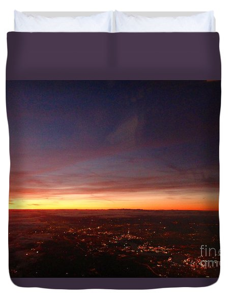 Duvet Cover featuring the photograph London Sunset by AmaS Art