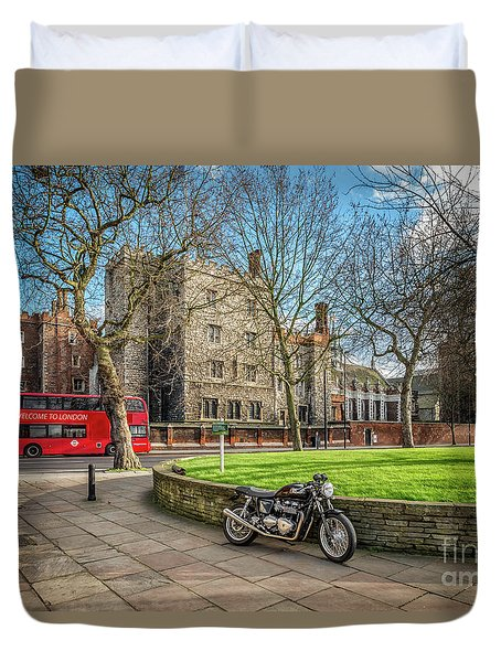 Duvet Cover featuring the photograph London Transport by Adrian Evans