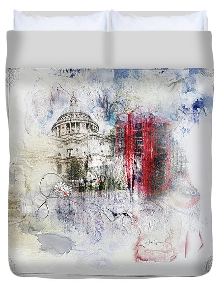 London's Ephemera Duvet Cover