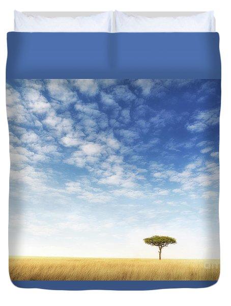 Lone Acacia Tree In The Masai Mara Duvet Cover